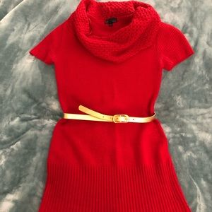 t/o sweaters red short sleeve cowl neck sweater
